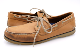 Sperry Top Sider Mens 11M Leeward 2 Eye Sahara Leather Round Toe Boat Shoes - $39.99