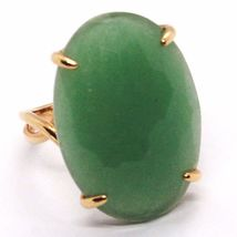 SOLID 18K ROSE GOLD RING, BIG GREEN AVENTURINE, CUSHION OVAL CUT MADE IN ITALY image 4