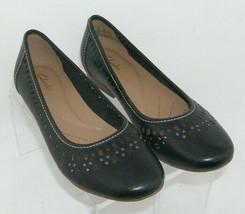 Clarks Artisan 'Lockney Hot' black leather round toe studded cut out fla... - $33.30