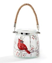 """Cardinal Design Glass Lantern w Rope Handle 4.7"""" high Votive or Tealight Candle"""