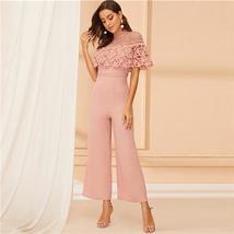 Women's Elegant Pink Hollow Out Guipure Lace Detail Long Sleeve Jumpsuit