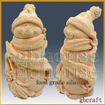 3D Food Grade Silicone Mold - Smiling Snowman in Cozy Cap - $65.34