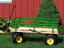 HUGE WAGON 4 FEET with Hand Brake Beach Garden Wood & Poly Toy Amish USA... - $455.37+