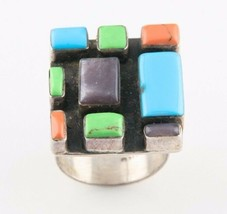 Vintage Mexican Sterling Silver Jasper & Turquoise Ring (Size Adjustable... - $153.45