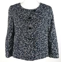 Ann Taylor LOFT Women Size 6P 6 Petites Lined Blazer Black White Filigre... - $13.09