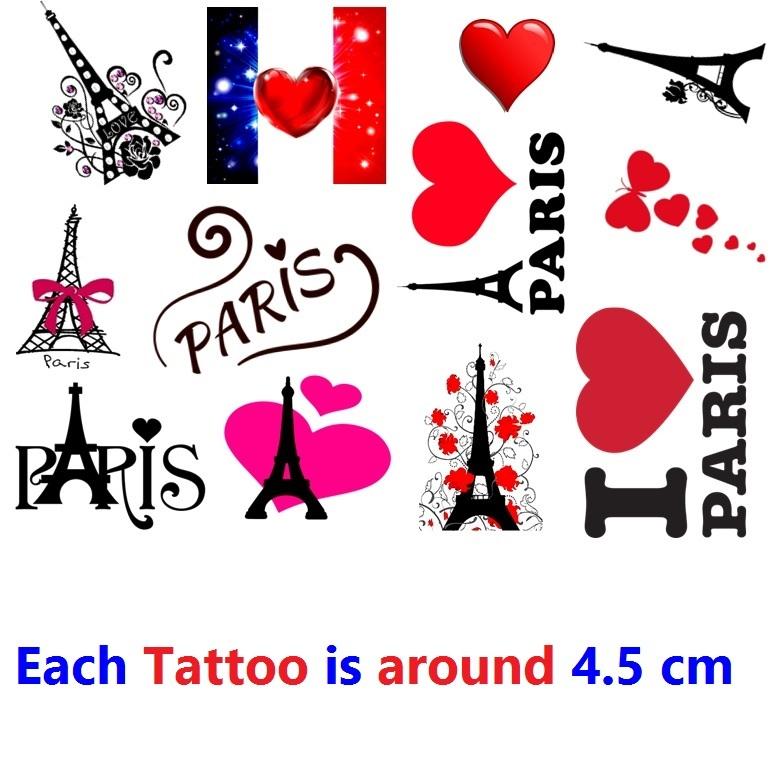 Paris France  Temporary Tattoos  - $11.00