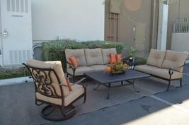 Santa Anita Outdoor Patio 5pc Seating Group Cast Aluminum, Sunbrella cus... - $2,227.50