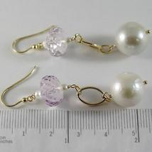 Gelbgold Ohrringe 750 18K Ohrhänger 6 cm, Amethyst Kissenschliff und Perlen image 2