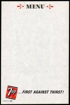 Vintage menu 7UP First Against Thirst slogan unused new old stock n-mint... - $8.09