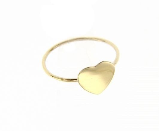 18K YELLOW GOLD FLAT HEART LOVE RING SMOOTH, BRIGHT, LUMINOUS, MADE IN ITALY