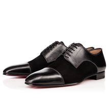 Handmade Men's Black Two Tone Leather And Suede Oxford Shoes image 2