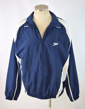 NWT SPEEDO Blue White Water Resistant Windbreaker Lightweight Jacket Men... - $22.76