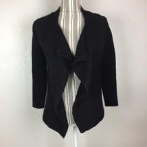 Women's S Vince Black Wool Blend Draped Open Front Cardigan Sweater Size S - $917,12 MXN