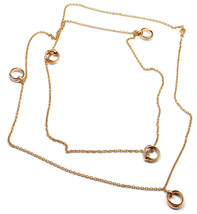 "Rare! Authentic Cartier Trinity 18k Multi Color Gold 41"" Long Link Necklace - $5,760.00"