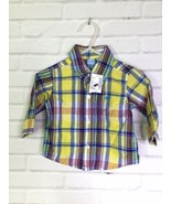 The Childrens Place Plaid Button Up Front Shirt Infant Baby Boy Size 3-6... - $10.39