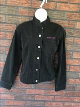 Black Jean Jacket Small Denim Button Up 100% Cotton Coat Promo Rare Vtg ... - $19.60
