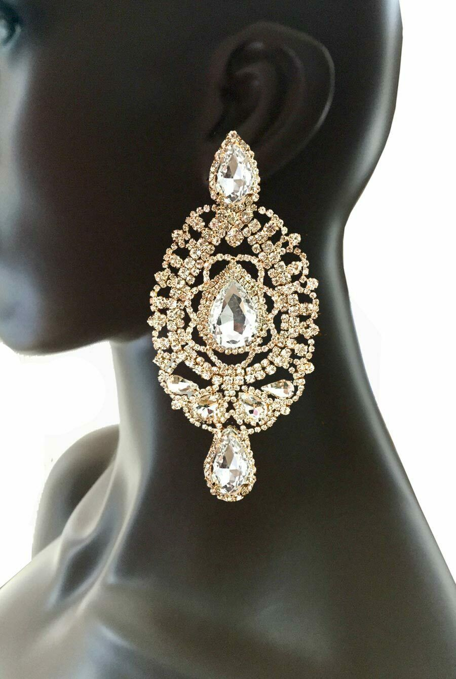"Primary image for 5"" Long Oversized Clip On Earrings Clear Rhinestones Drag Queen Pageant, Bridal"