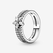 925 Sterling Silver Sparkling Snowflake Double Ring For Women  - $21.99