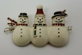 Vintage enamel Winter holiday Snowmen brooch pin - $12.38