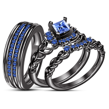 His Her Wedding Princess Cut Blue Sapphire Trio Ring Set Black Finish 92... - $167.99