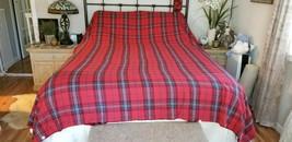 Williams Sonoma TARTAL FLANNEL Red Full/Queen Duvet Cover  NWOT #28 - $99.00
