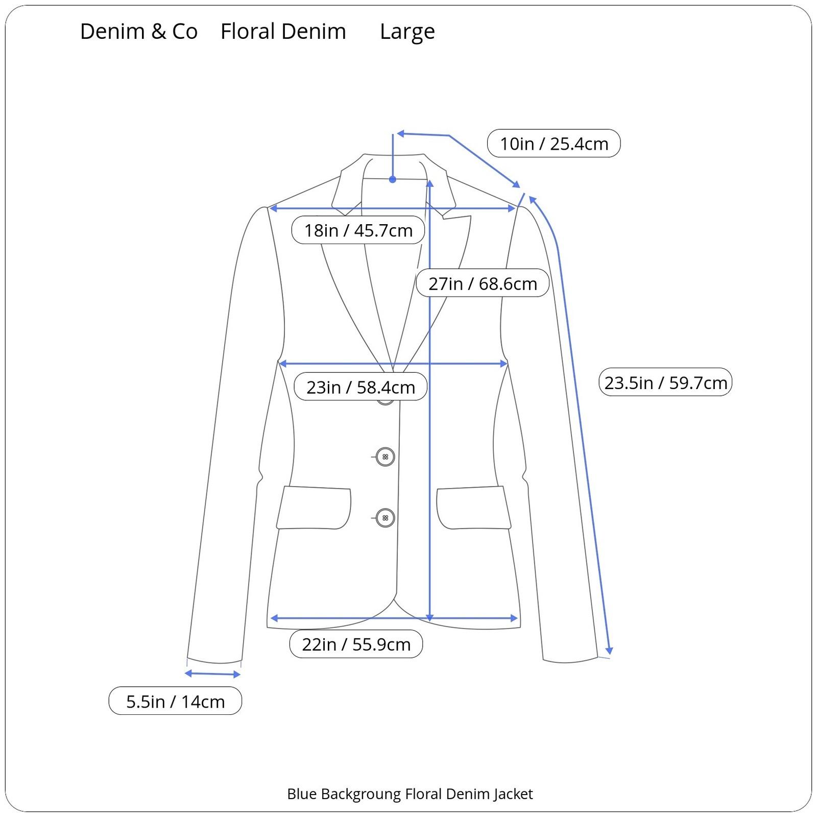 Denim and Co Womans Floral Denim Jacket Size Large