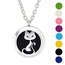 AZORA Cat Aromatherapy Essential Oil Diffuser Necklace Locket Round Pend... - $11.99