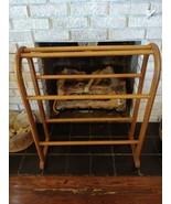 Quilt Display Rack Vintage Oak Solid Wood Blanket Stand Drying Rack Bedding - $65.29
