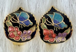 Vintage Cloisonné Enamel Butterfly Flowers Clip On Gold Tone Earrings - $9.14