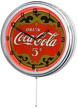 "Retro 15"" Red Neon Drink Coca Cola Soda Pop Coke Sign Man Cave Wall Cloc... - $83.95"