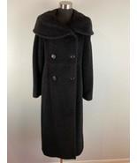 Steve by Searle Full Length Pea Coat 6 S Black Suri Alpaca Wool Oversize... - $197.99