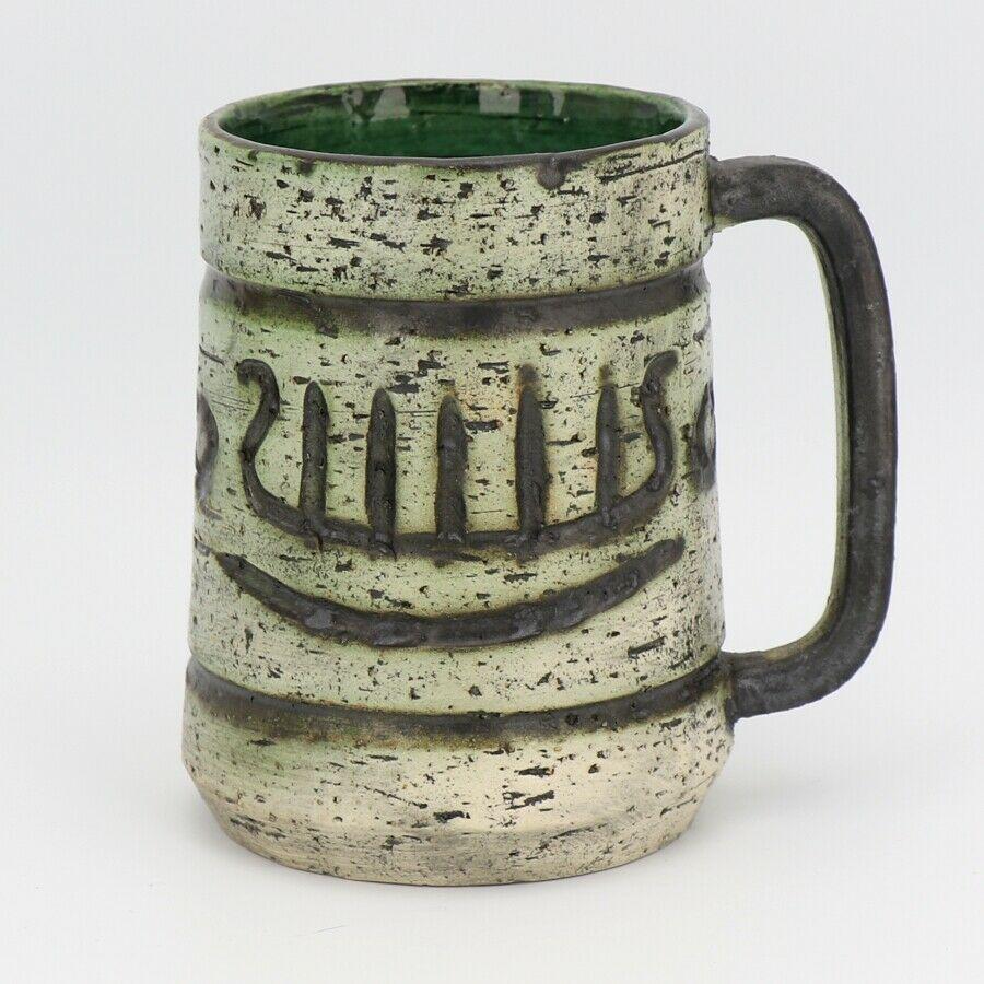 Arol Pottery Halden Norway Saga Pattern Large Coffee Mug c1965