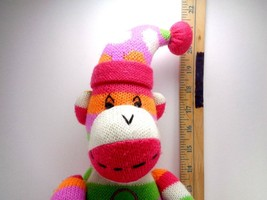 Party SOCK MONKEY Pink Purple Holding Gift Bag Plush Knit Stuffed Toy 21... - $15.14
