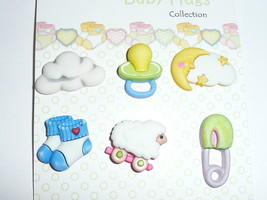 Baby Hugs - Sweet Dreams 3D Realistic Shank Buttons (6) - Lamb, Pacifier... - $4.99