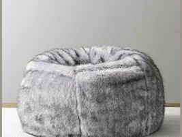 Leather Fur U and I Design Bean Bag and Cover, XXXL/9mm (Gray) Free Shipping image 2