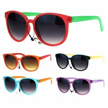 Womens Hipster Pop Color Round Plastic Horned Rim Retro Gradient Sunglasses - $6.95