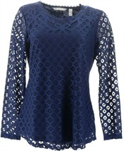Isaac Mizrahi Stretch Lace Scoop Neck Tunic Royal Navy XL NEW A294654 - $26.71