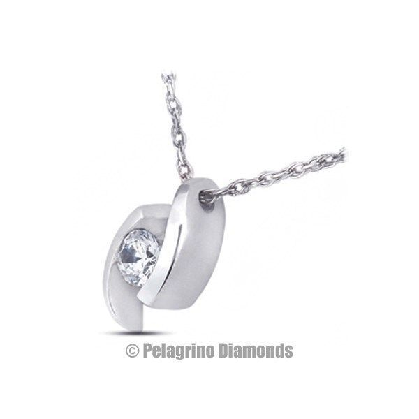 Primary image for 0.39 Carat D-SI1 Exc Round AGI Natural Diamond 14kw Gold Tension Pendant 7.3mm