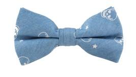 Men's Classic Pattern 100% Cotton Pre-tied Bow Ties Light Blue Skull ORIGINAL  - $17.17