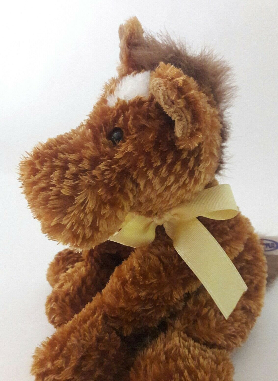 MARY MEYER brown HORSE yellow bow Floppy Plush Stuffed Animal Toy 11""