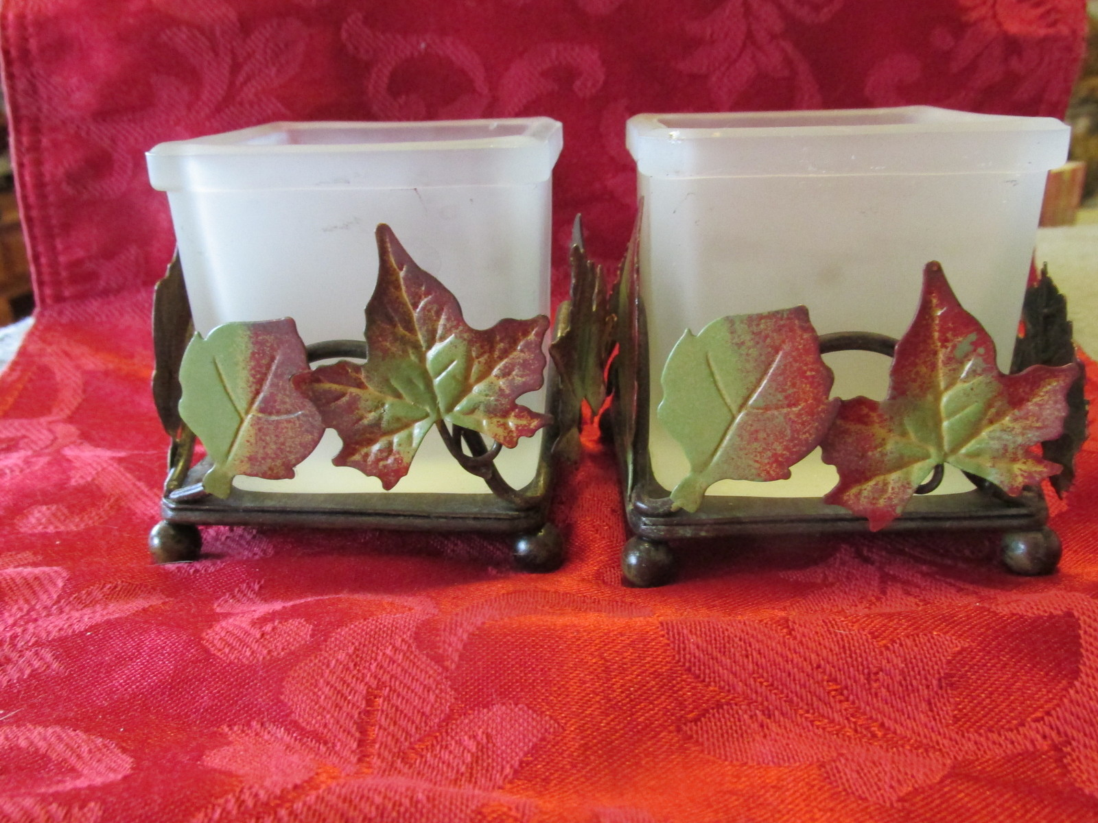 Candle Holders Sheridan Frosted Glass Metal Leaves X2