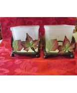 Candle Holders Sheridan Frosted Glass Metal Leaves X2 - $9.99