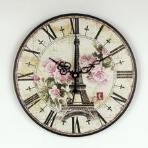 absolutely silent quartz vintage rose wall clock Effiel tower home hours... - $31.92+