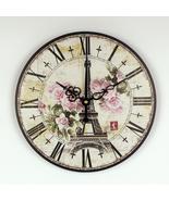 absolutely silent quartz vintage rose wall clock Effiel tower home hours decorat - $25.54 - $36.29