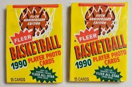 1990-91 Fleer Basketball Lot of 2(Two) New Unopened Sealed Packs - $16.81