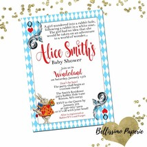 Alice in Wonderland Baby Shower invitation White Rabbit Red Hearts Perso... - £7.72 GBP