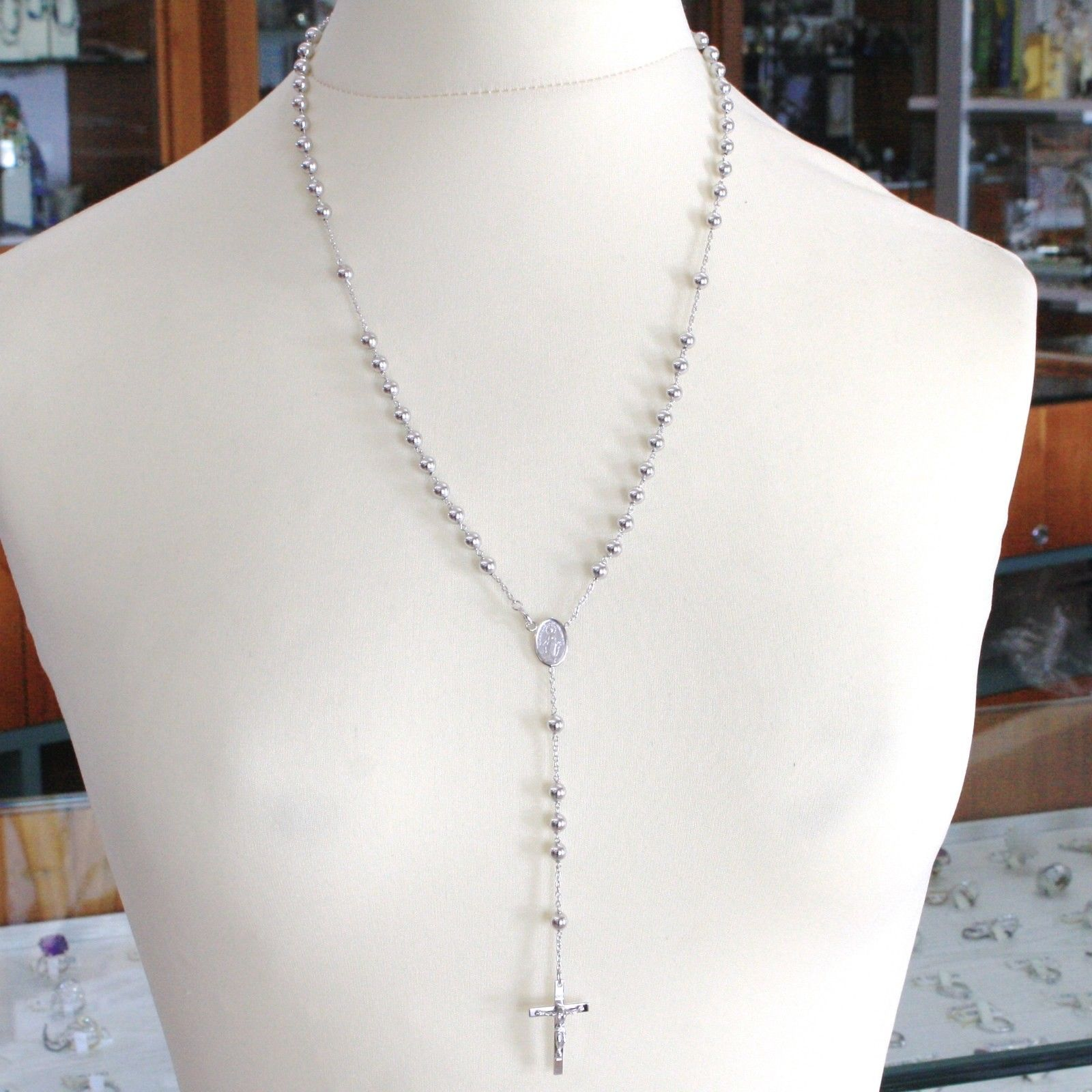 18K WHITE GOLD BIG ROSARY NECKLACE MIRACULOUS MARY MEDAL & JESUS CROSS, 23 INCH.
