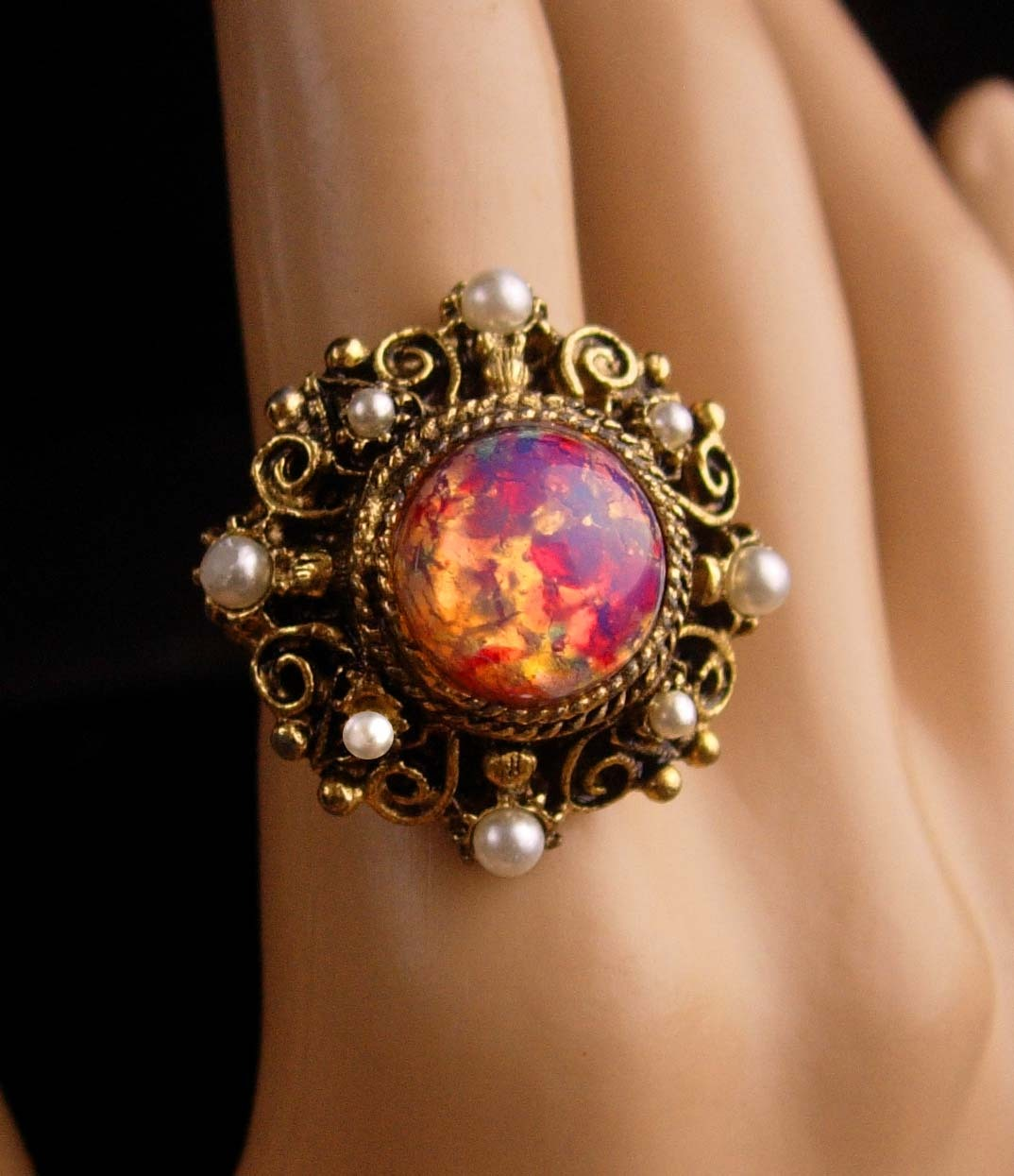 Antique Czech Ring - jelly opal Glass - pearl and filigree - size  5-7 - czechos