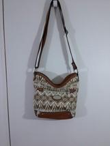 Boc Born Concepts Faux Pebble Leather Shoulder Bag Tribal Print Tan Trim - $22.24