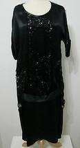 VINTAGE Flapper Dress 1920's Gatsby Black Silk Sequin Bead Net Overlay XL - $449.99